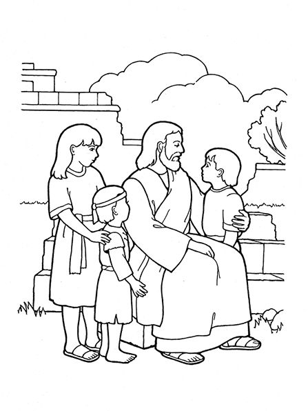 Christ Blessing The Children Illustration Jesus Coloring Pages Lds Coloring Pages Bible Coloring Pages