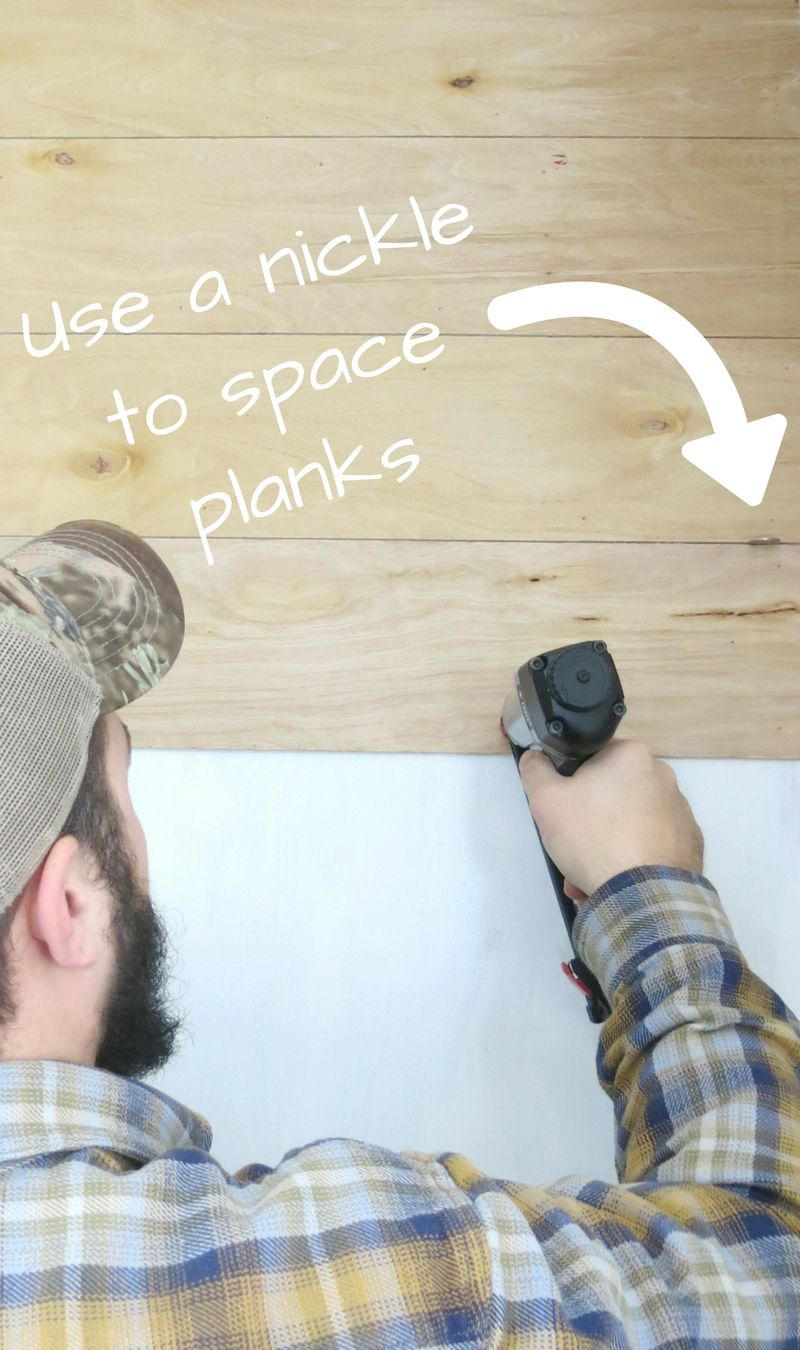 Use A Nickle To Space Planks On Shiplap Cheap Easy Farmhouse Shiplap Wall For