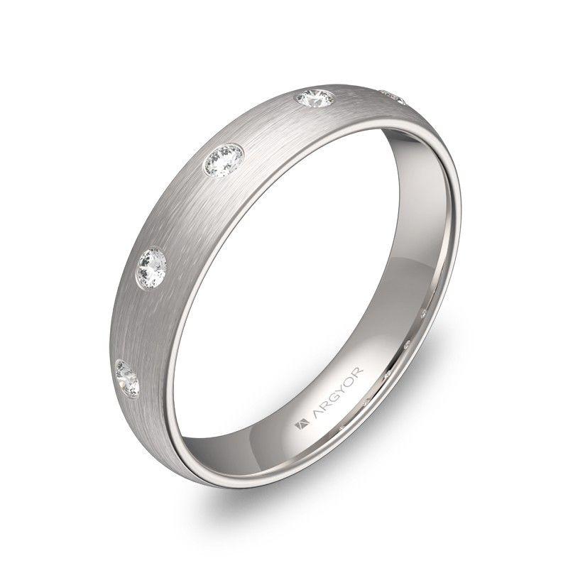14383ebd1fa9 Anillo de boda en oro blanco 18k con diamantes
