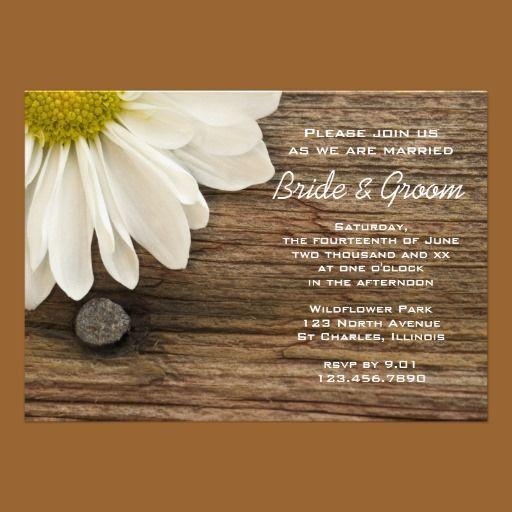 White Daisy Wedding Invitation: White Daisy And Barn Wood Country Wedding Invitation