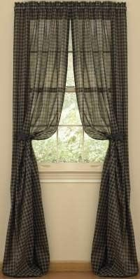 Park Designs Sturbridge Black 72 X 63 Sheer Panels By Primitive Home Decors 38 76 Priced And Sold By The Pai Home Decor Primitive Homes Primitive Curtains