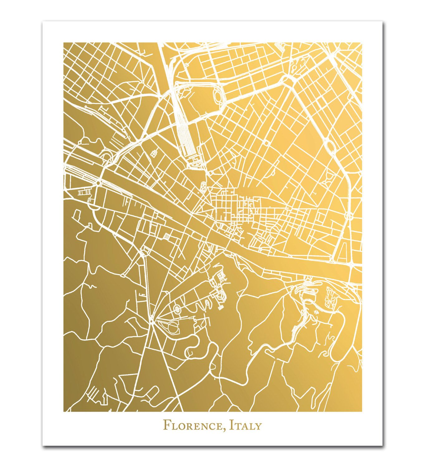 Florence Italy Map in Gold Foil, Gold Foil Florence Print, Gold Foil ...
