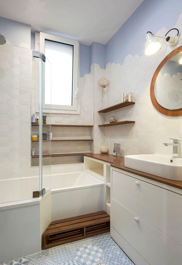 awesome Idée décoration Salle de bain - Le dégradé du blanc au bleu