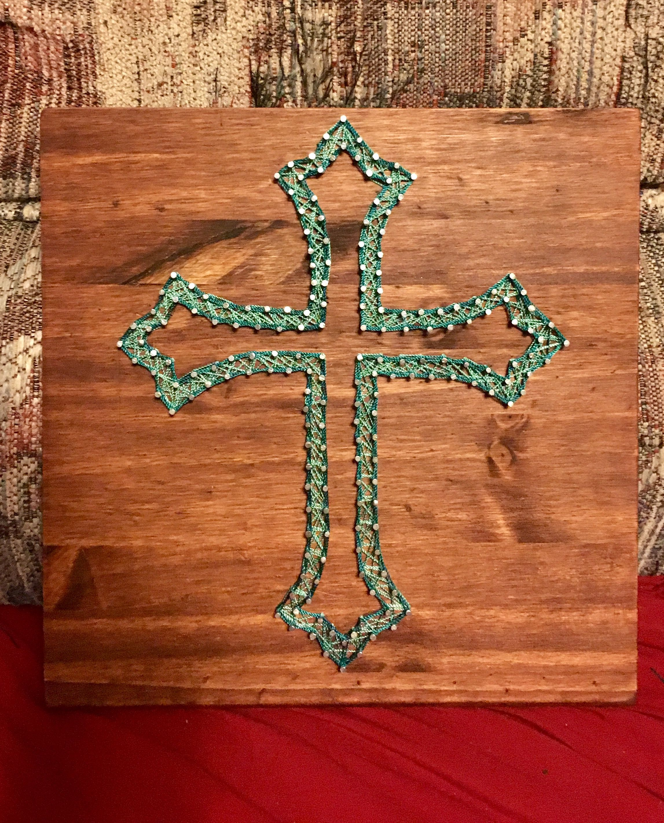 Made by me hollow cross string art nail and board outros