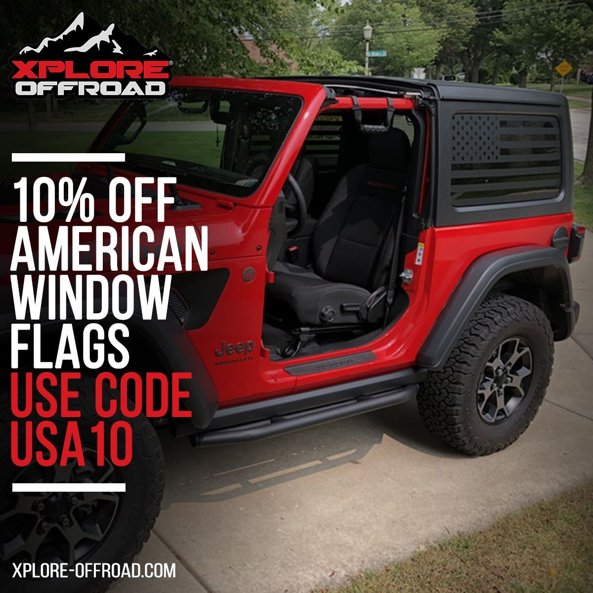 2 Door Precut USA Flag Window Decals XPLORE OFFROAD® Jeep Wrangler XPLORE OFFROAD Matte Black American Vinyl for Rear Side Windows Both Sides JKU 2011-2017