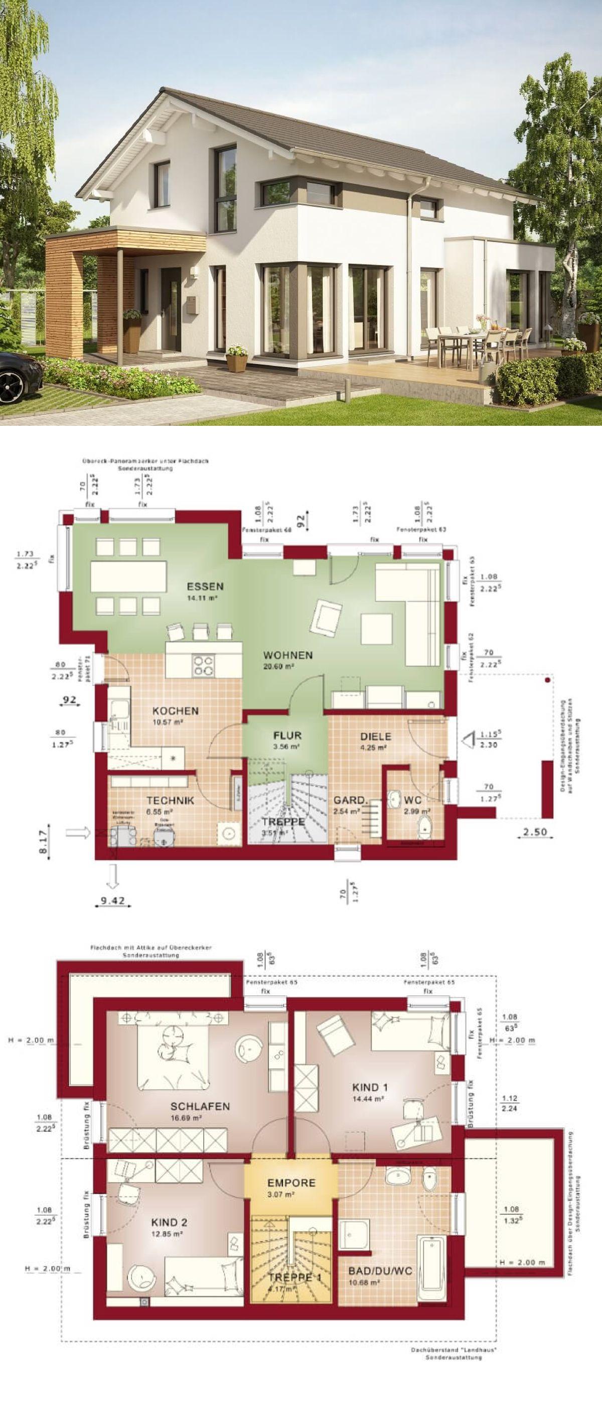 Modernes einfamilienhaus design mit satteldach architektur for Modernes einfamilienhaus grundriss