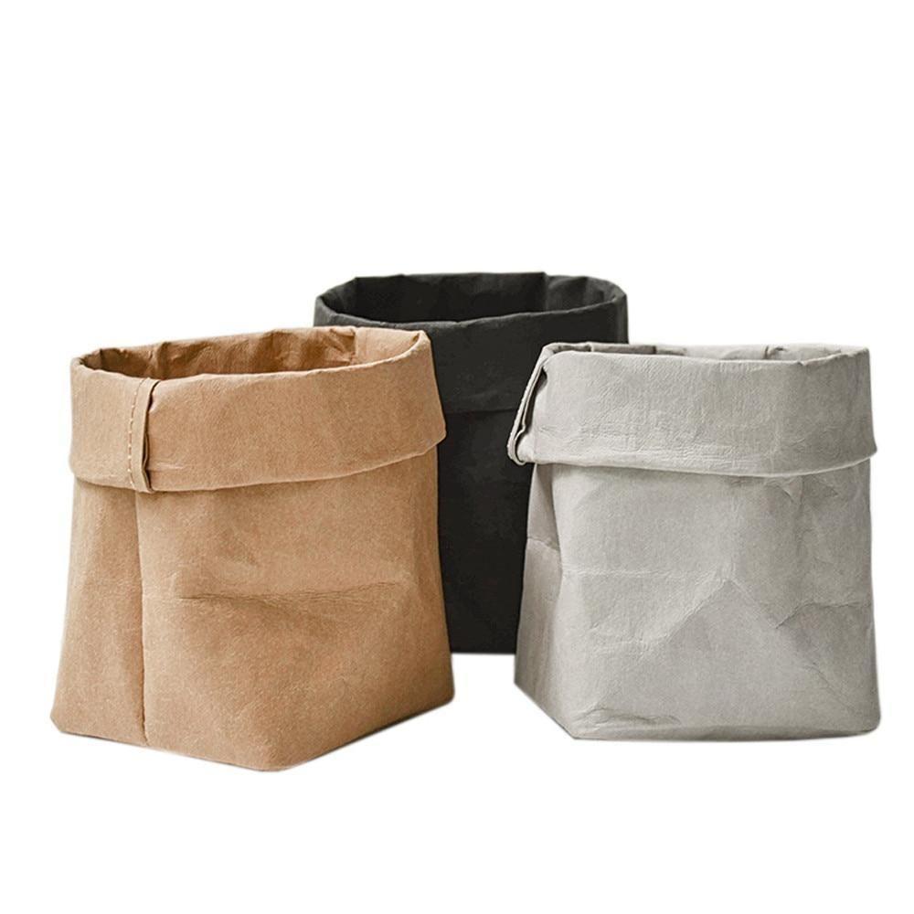 Folding Fabric Paper Bag Style Carrier Pot Storage Kraft