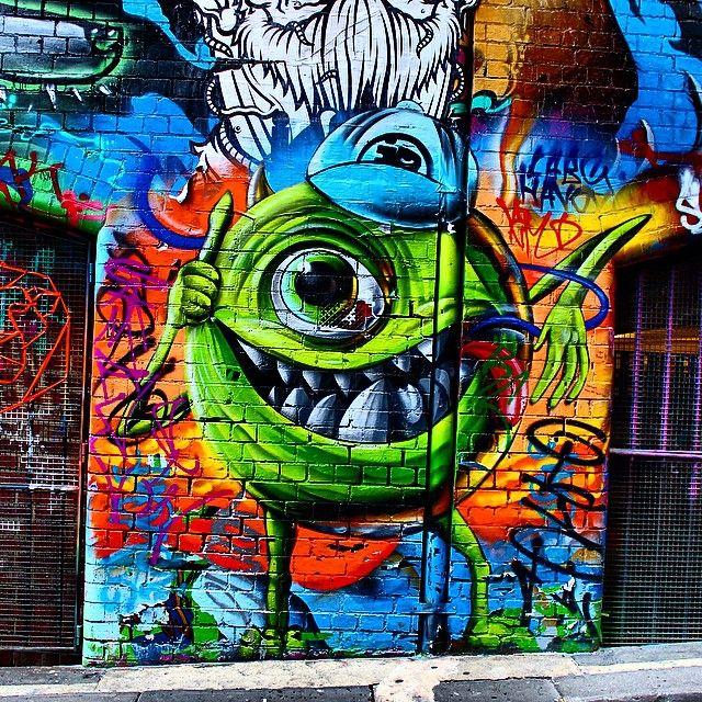 Monsters Inc Street Art In Melbourne   Melbourne Streetart Graffiti Mikewazowski Pixar Photo By Madeline Barry