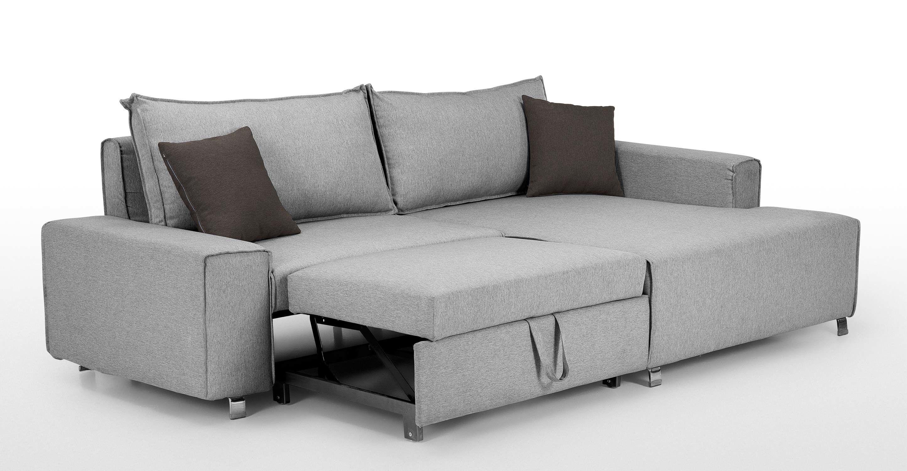 Mayne Right Hand Facing Corner Sofa Bed Clear Grey Stone Made Com Corner Sofa Bed Modern Sofa Bed Small Grey Corner Sofa