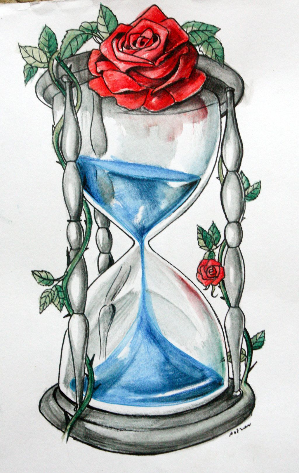 Roses Hour Glasses Tattoo: Blue Blood Hourglass By ArtOfAsthar.deviantart.com On