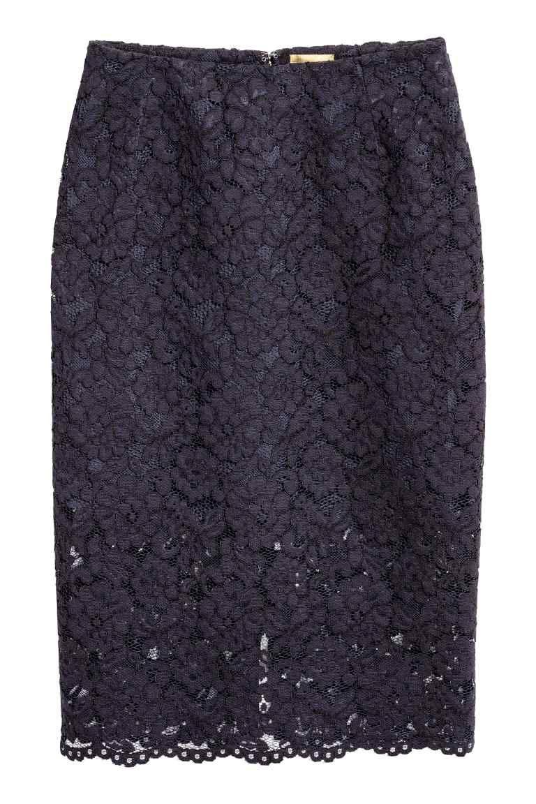 d77f67a5b56d Úzka čipková sukňa - tmavomodrá - ŽENY