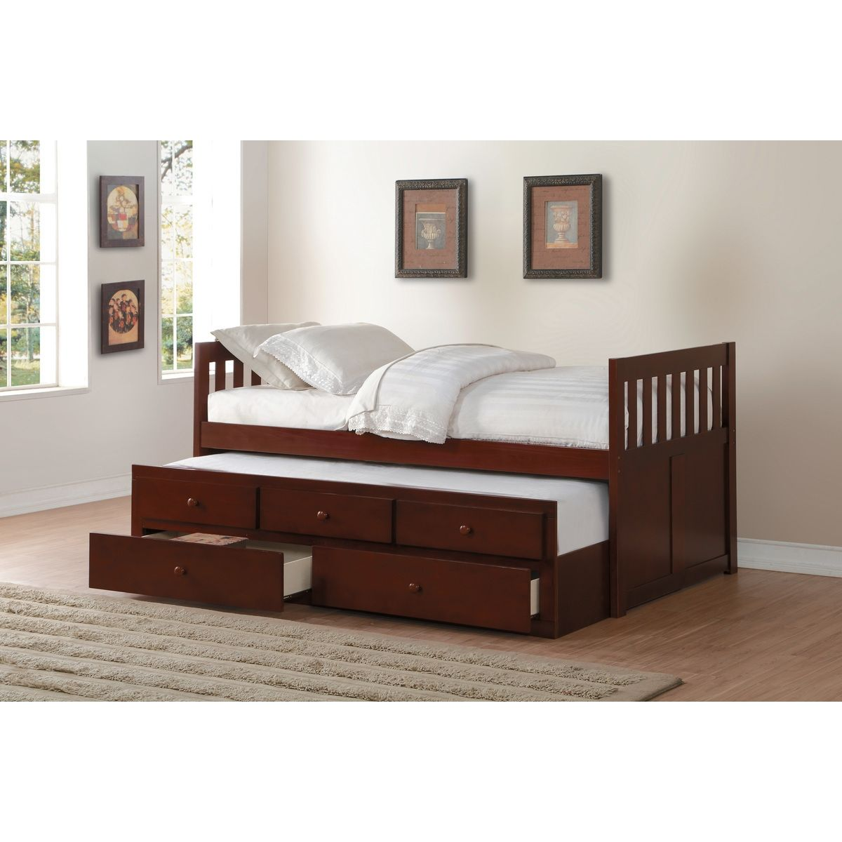 Homelegance Rowe Wood Trundle Bed w/Storage Drawers, Twin