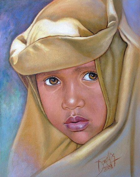 Niño de raza negra 14 Acrílico sobre Lienzo 2009 28 x 35 cm