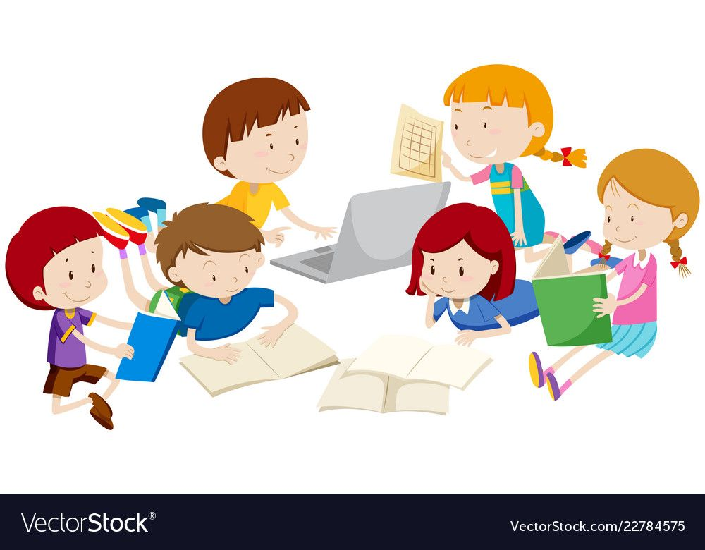 Group Of Children Learning Vector Image On Vectorstock Kids Learning Happy Kids Kids Playing