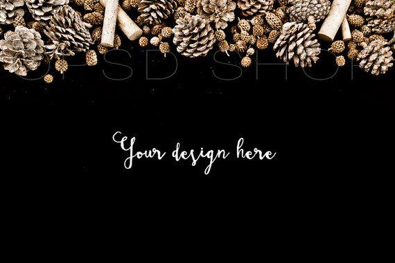 Styled stock photography + FREE Cropped Image | Digital Image | Mockup | JPG Digital Image | Dark Background with Pinecones | Christmas styled stock image