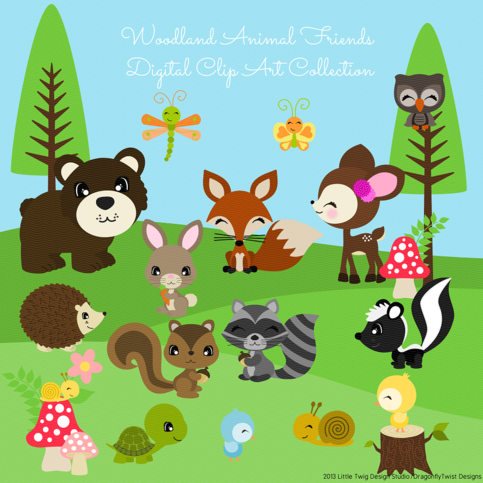Woodland Animal Friends II Digital Clipart, clip art collection ...