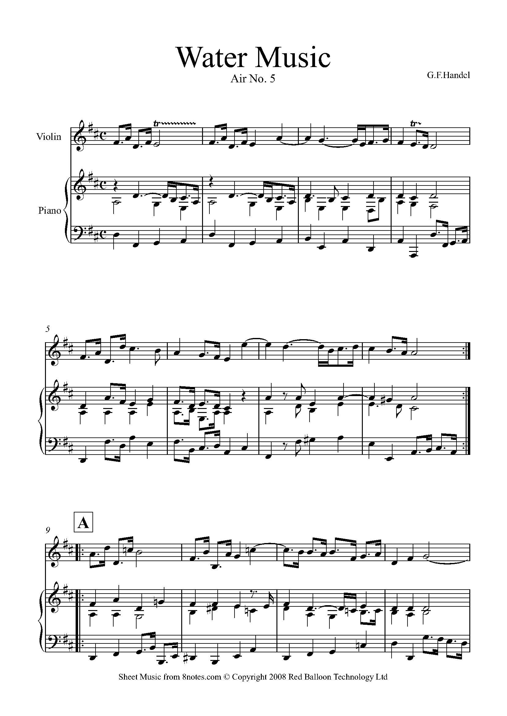Handel - Water Music (Air No.5) sheet music for Violin - 8notes.com ...