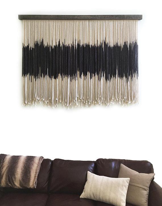 Photo of Large Macrame Wall Hanging, Dip Dyed Tapestry, Large Fiber Art, Dip Dyed Macrame, Large Wall Hanging, Large Wall Art, Modern Bohemian Art
