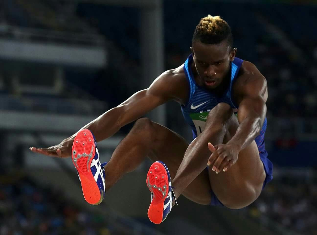 RIO DE JANEIRO, BRAZIL - AUGUST 13: Jarrion Lawson of the United States competes during the Men's Long Jump Final on Day 8 of the Rio 2016 Olympic Games at the Olympic Stadium on August 13, 2016 in Rio de Janeiro, Brazil. (Photo by Alexander Hassenstein/Getty Images) — in Rio de Janeiro, Brazil.