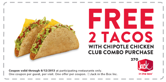 Jack In The Box Reminder Coupon For 2 Free Tacos With Purchase