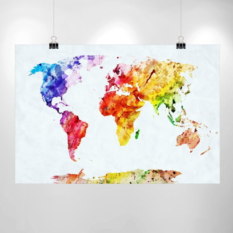 Large watercolor world map print home decor print poster ikea large watercolor world map print home decor print poster ikea wholesale cheap gumiabroncs Image collections