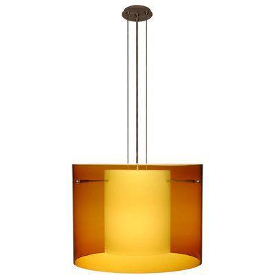 "Besa Lighting Pahu 3 Light Mini Pendant Finish: Brushed Bronze, Size: 11.75"" H x 15.75"" W x 15.75"" D, Shade Color: Armagnac"