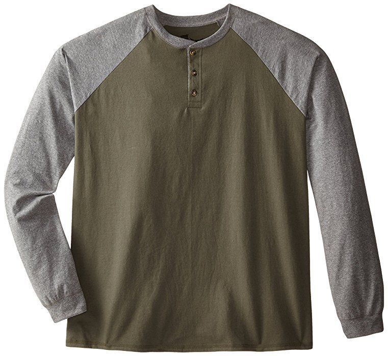 e70cbf0251c8 Hanes Men's Long-Sleeve Beefy Henley T-Shirt - Large - Camouflage  Green/Oxford Gray at Amazon Men's Clothing store: