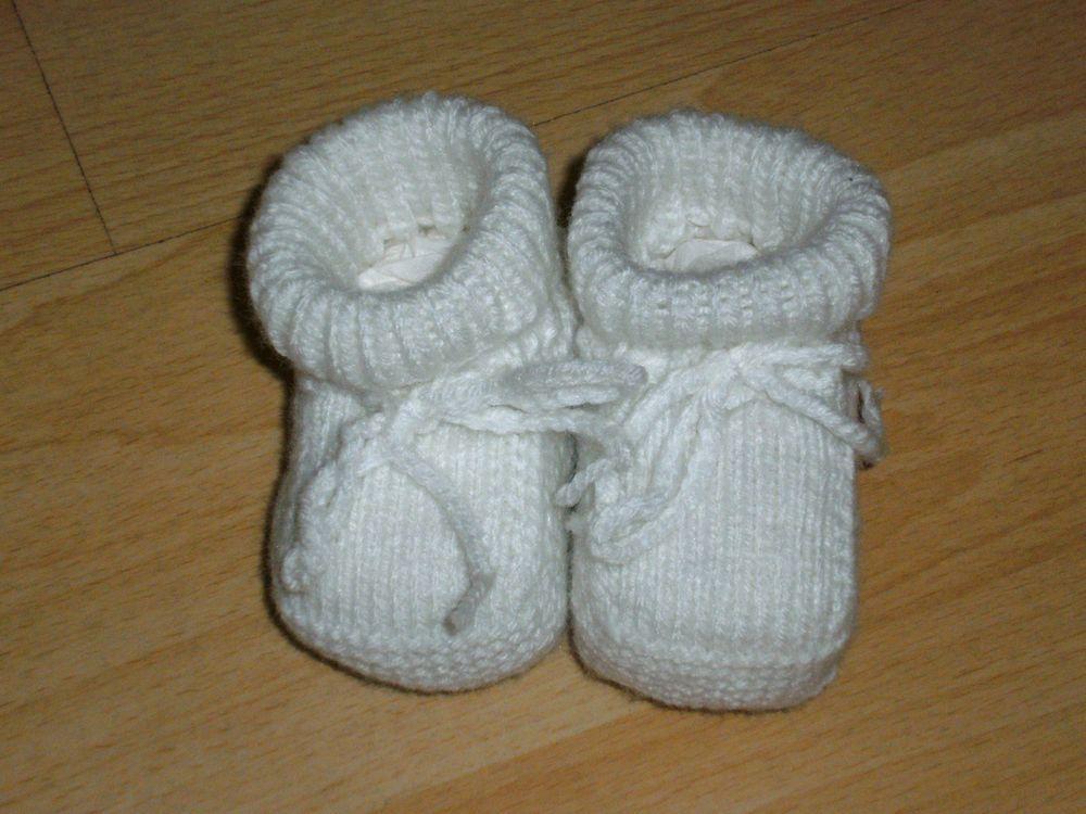 Babyschuhe Babysocken Gestrickt Taufe Weiß