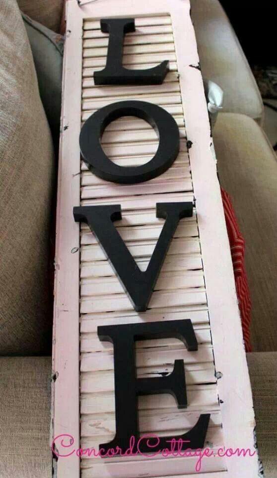 Love on pink shabby chic shutter