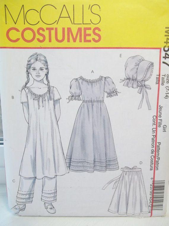McCall M4547 Girls Early American Costume Dress Chemise Pantaloon Bonnet Pattern