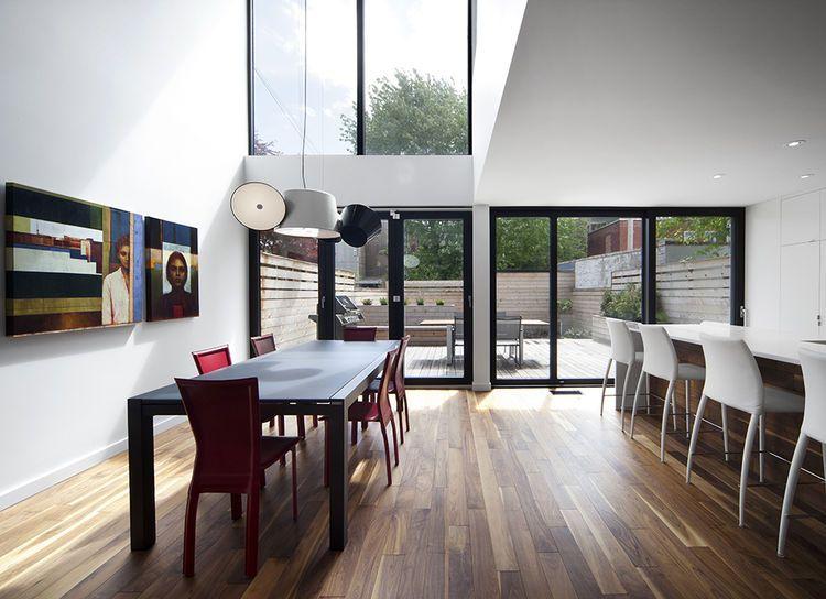 Walnut Hardwood Flooring Dining Room With Tam Tam Light