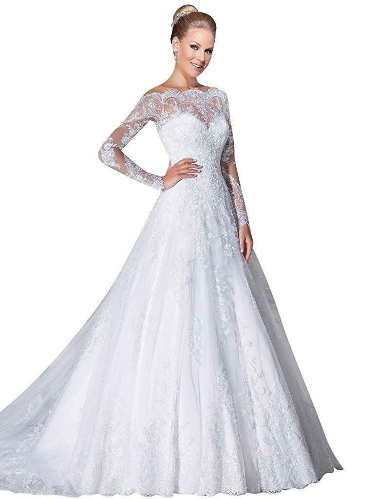 Aline bridal dresses long sleeves off the shoulder lace wedding
