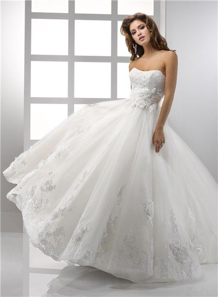 Pretty A Line Princess Strapless Vintage Lace Wedding Dress With ...