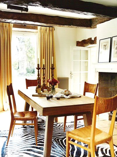 Kathryn Ireland  Projects Amazing Zebra Rug Under Dining Room Adorable Dining Room Furniture Ireland Inspiration