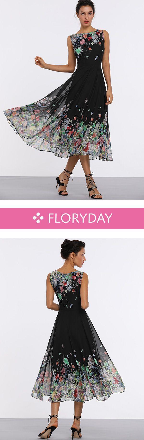 Knielanges Kleid ohne Ärmel in X-Linie und Blumenmuster #dress