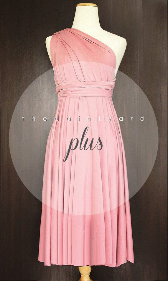 5e25617ca05 PLUS SIZE Short Straight Hem Blush Bridesmaid Dress Convertible Dress  Infinity Dress Multiway Dress