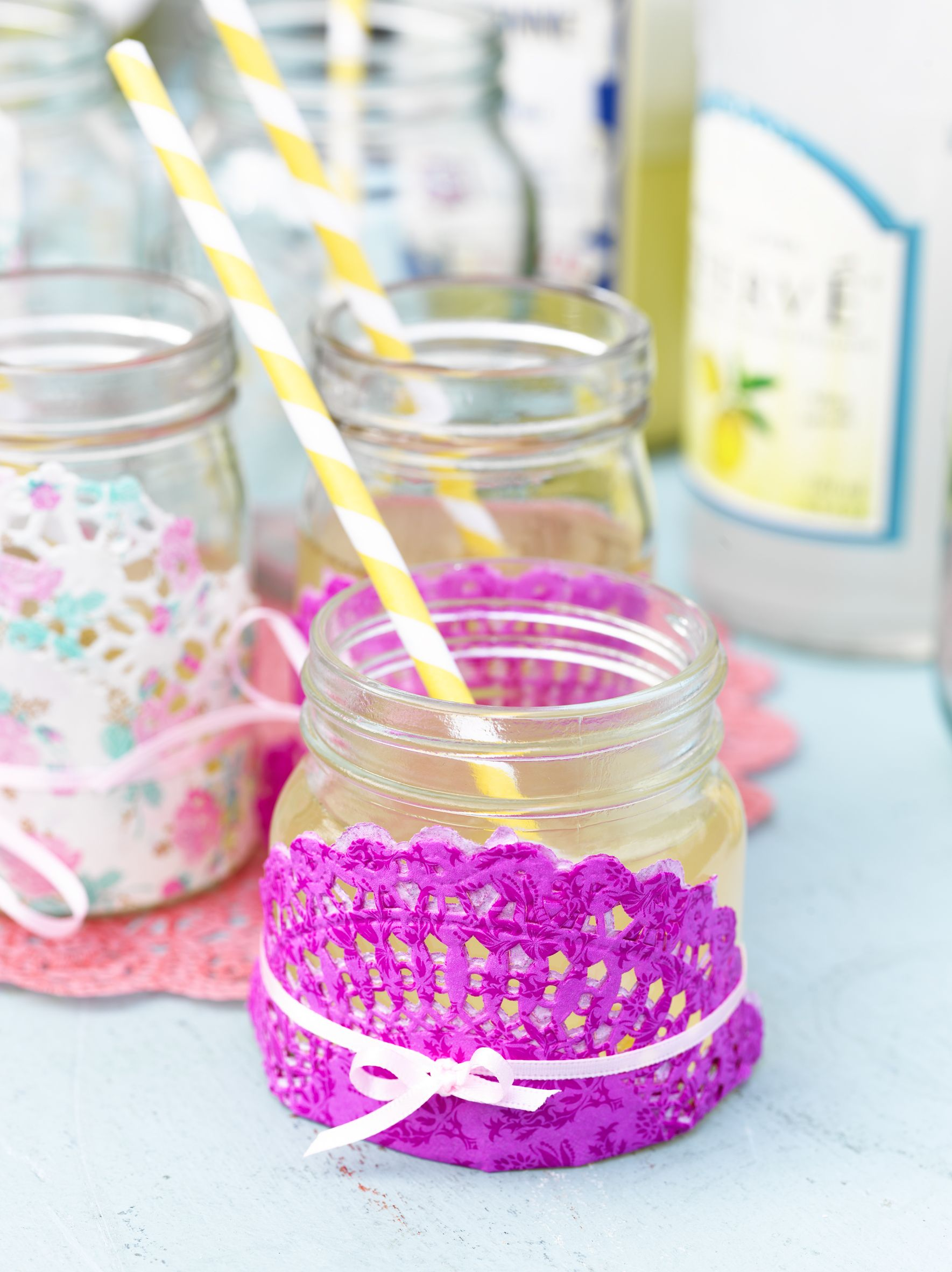 Using Talking Tables pretty paper doilies, jam jar and string ...