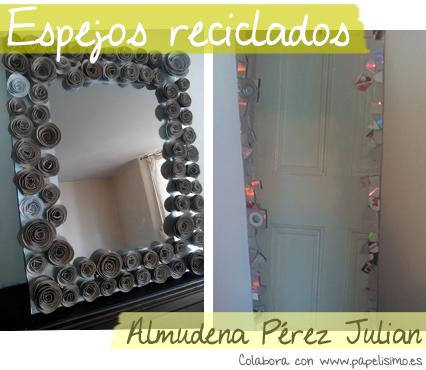 decoracin con reciclaje espejos decorados con flores de papel y cds reciclados