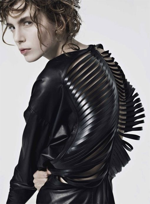 Fashion as Art - laser cut leather dress with sculptural rib cage detail; dark fashion // Visbol de Arce