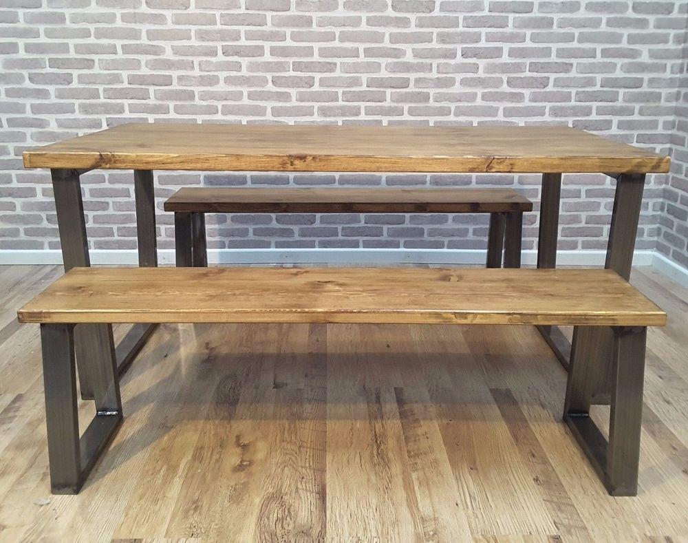Hoxton U Frame Rustic Industrial Wood Dining Table Steel Seat 4