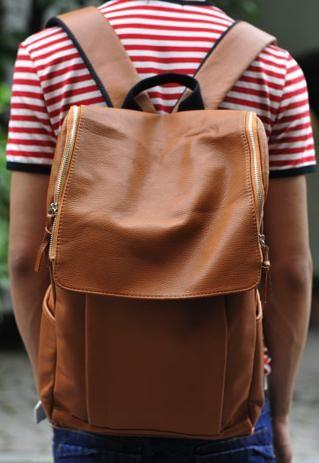 Mens Brown Leatherette Casual Backpack Rucksack School Bag  3a585dafe9710
