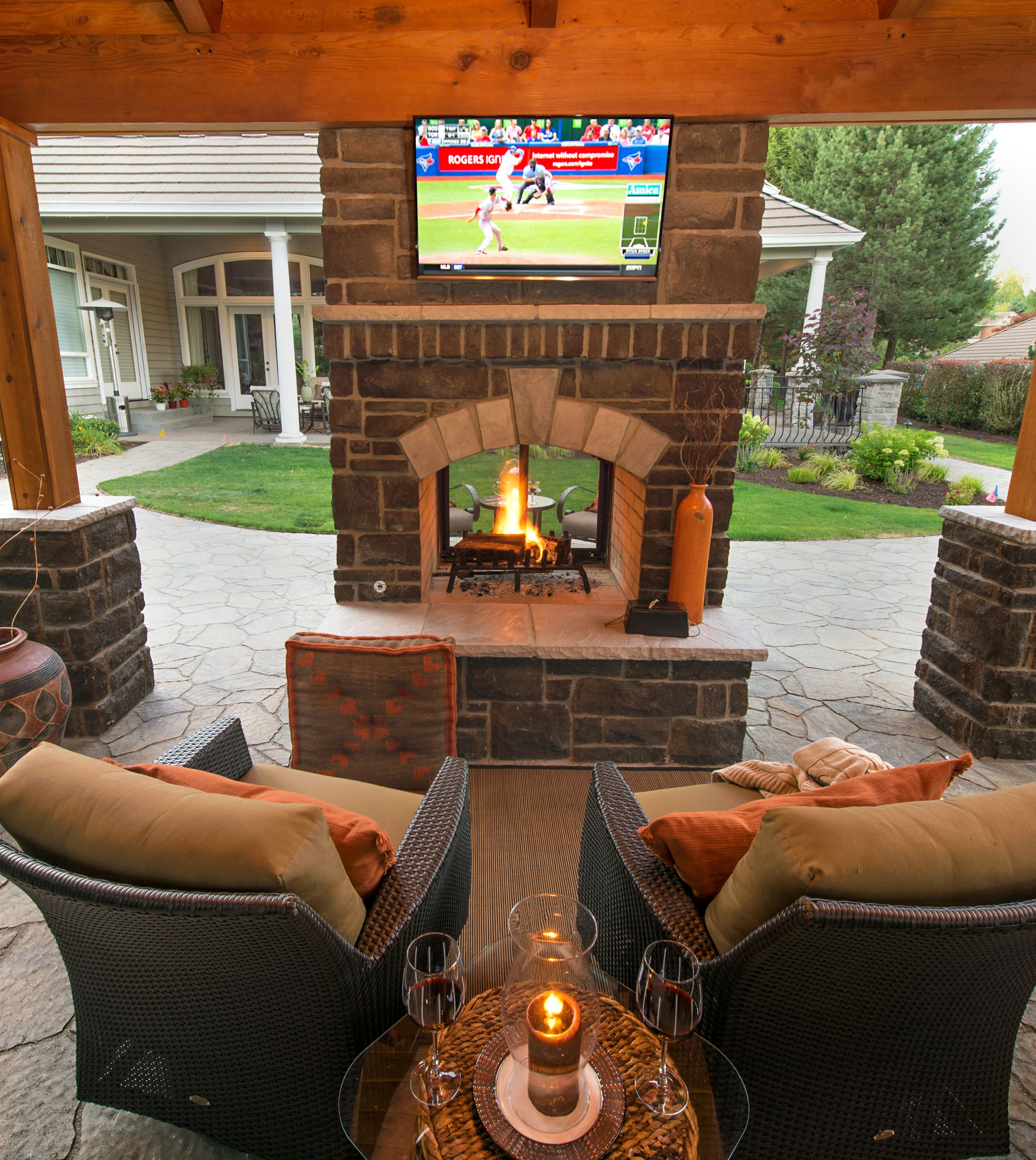 Double sided fireplace for Patio fireplace plans