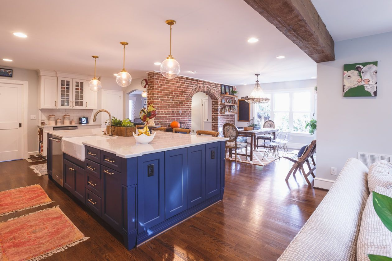 A Dark Blue Indigo Island Works Like A Piece Of Furniture In This Open Concept Kitchen See How Our Cl Kitchen Design Small Open Concept Kitchen Kitchen Design