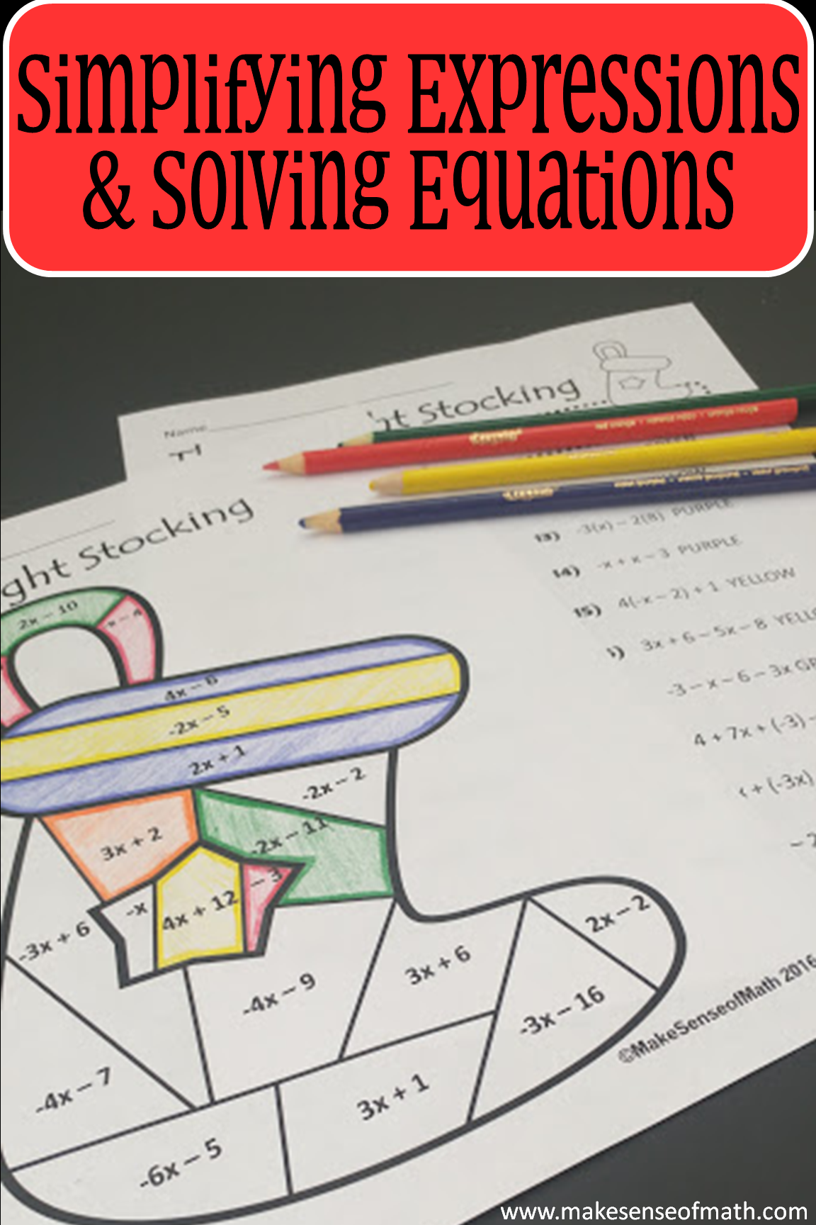 Christmas Math Activity Simplifying Expressions Amp Solving Equations