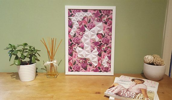 Handmade Origami Wall Art Flower Love