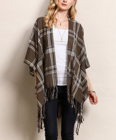 Look at this #zulilyfind! Olive & Gray Plaid Fringe-Hem Kimono #zulilyfinds