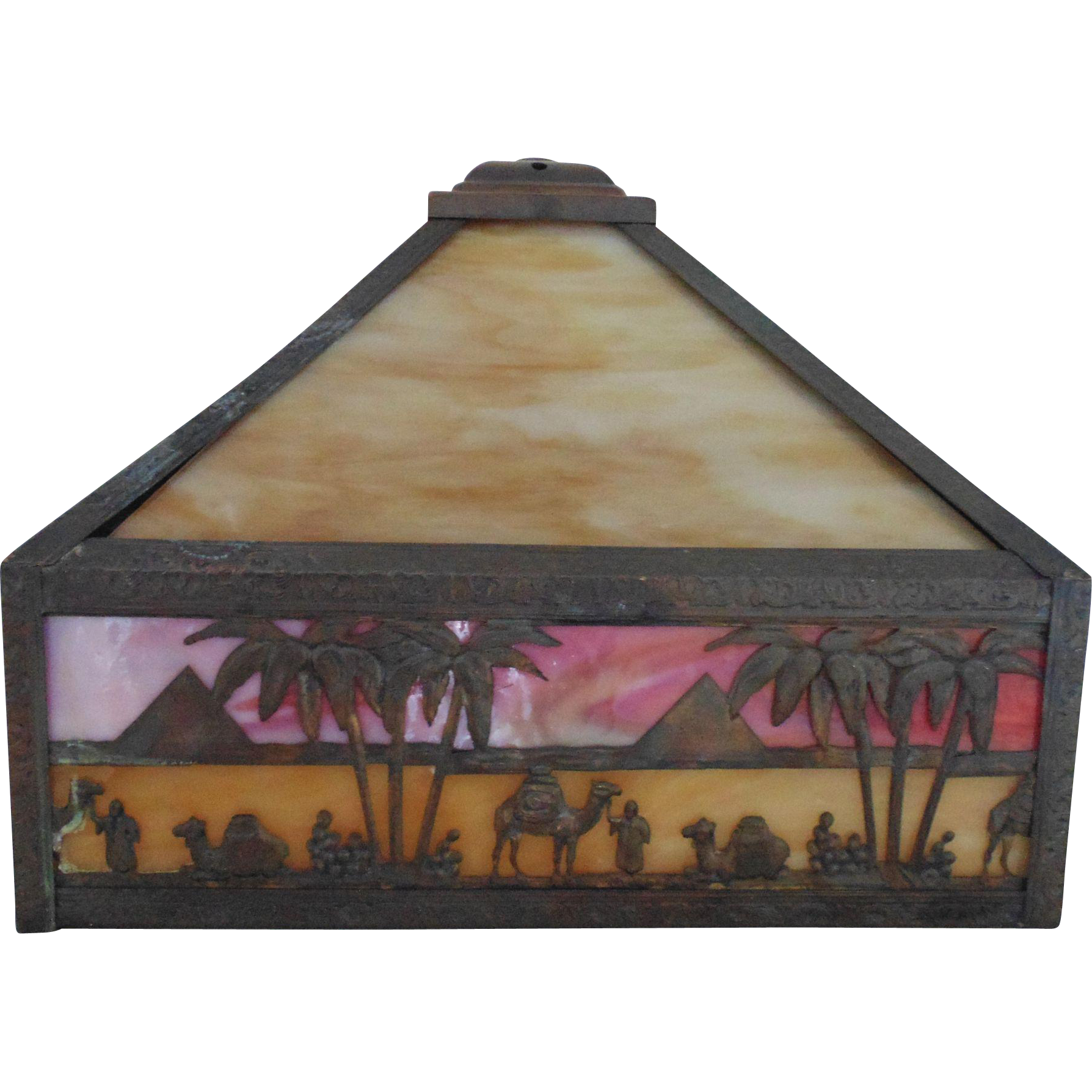 Slag Stained Glass Lamp Shade Camels Pyramids Egyptian Revival c