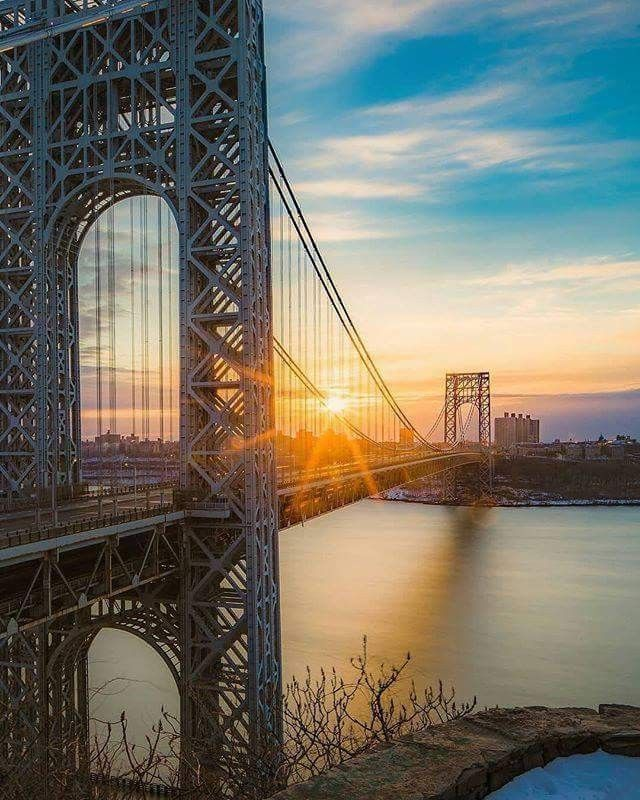 Sunrise Over The George Washington Bridge