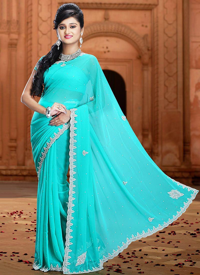 Turquoise Pure Chiffon Saree