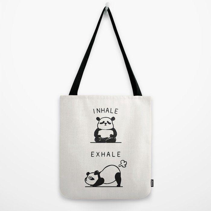 Inhale Exhale Panda Canvas Tote Bags by Huebucket - 16 x 16 #inhaleexhale